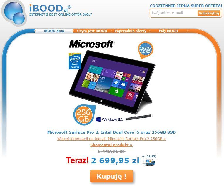 Tabletowo.pl Microsoft Surface Pro 2 w mocnej konfiguracji (8GB RAM, 256GB SSD, i5) w promocji za 2730 złotych Microsoft Nowości Promocje Tablety Windows