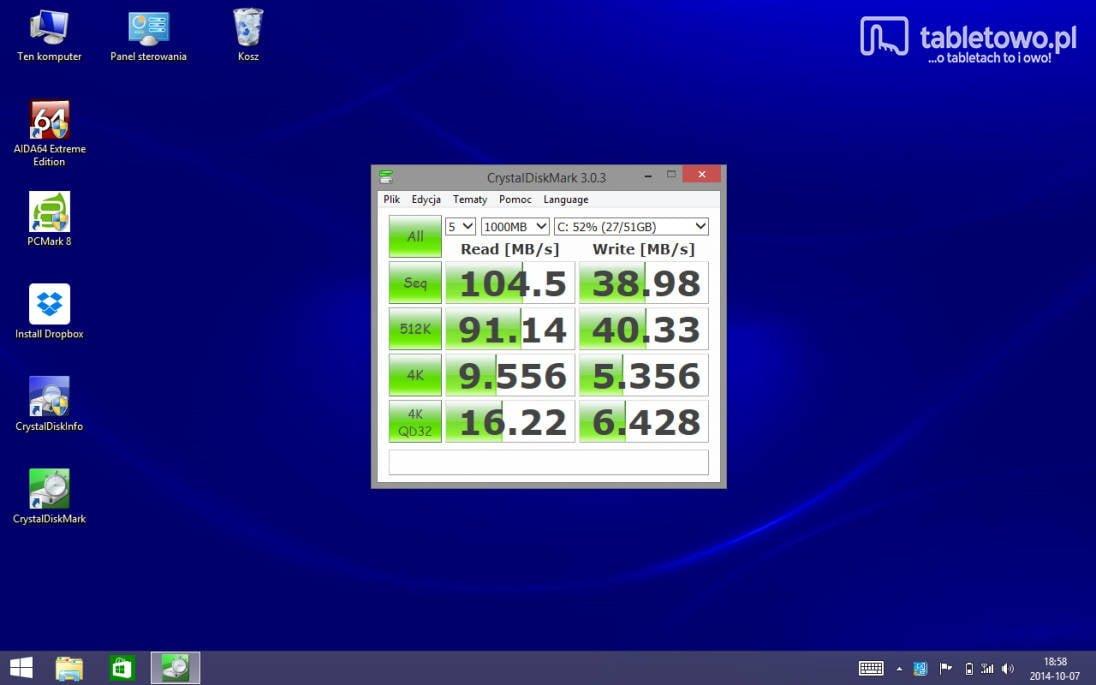 Dell Venue 8 Pro - wydajność dysku