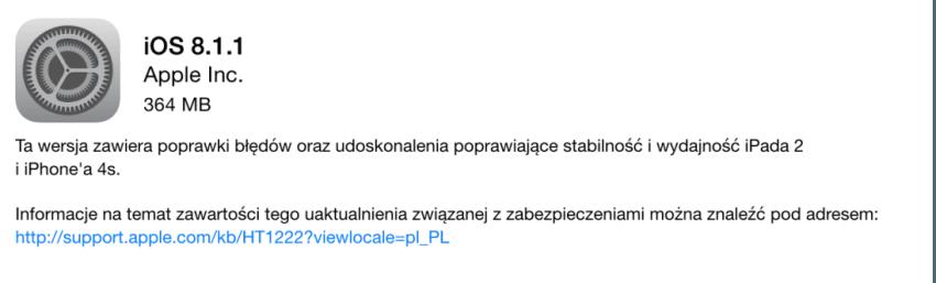 Tabletowo.pl iOS 8.1.1 ma poprawić działanie starszych urządzeń Aktualizacje iOS