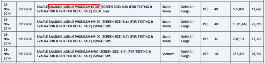 Tabletowo.pl 5,5-calowy Samsung SM-E700F będzie przedstawicielem serii E Android Plotki / Przecieki Samsung Smartfony