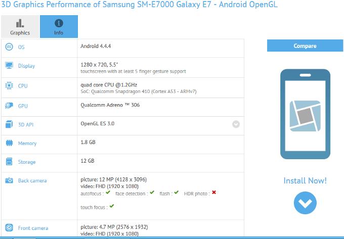 Tabletowo.pl GFXBench zdradził specyfikację Samsunga Galaxy E7 Android Plotki / Przecieki Samsung Smartfony