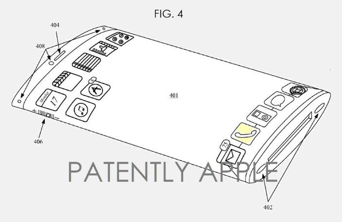 Apple patent wygięty i giętki ekran 1