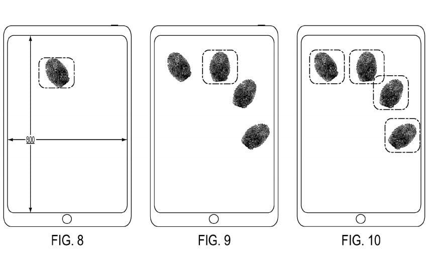 Apple patent czytnik linii papilarnych Touch ID na ekranie