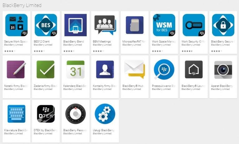 BlackBerry udostępniło kolejne autorskie aplikacje w Sklepie Play