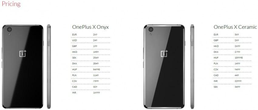 OnePlus X ceny