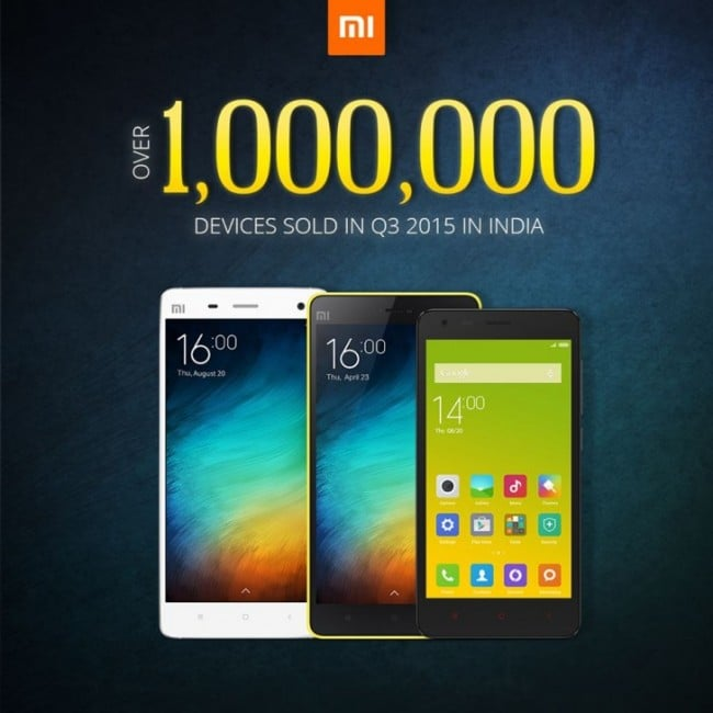 Xiaomi 1 milion sprzedanych smartfonów w Indiach w 3Q 2015