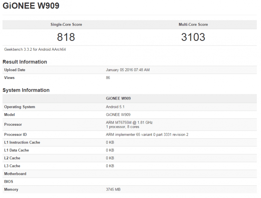 Gionee W909