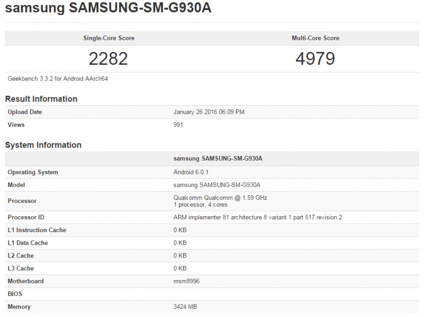 Samsung Galaxy S7 Qualcomm Snapdragon 820 Benchmark Geekbench