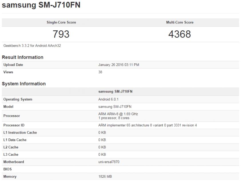 Samsung Galaxy J7 (2016) Geekbench
