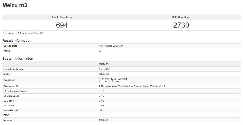 Meizu M3 Geekbench