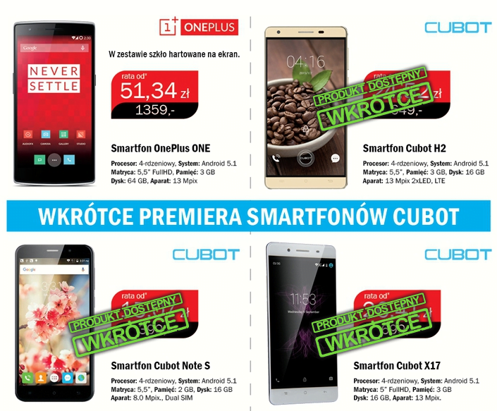 OnePlus One Cubot Note S Cubot H2 Cubot X17