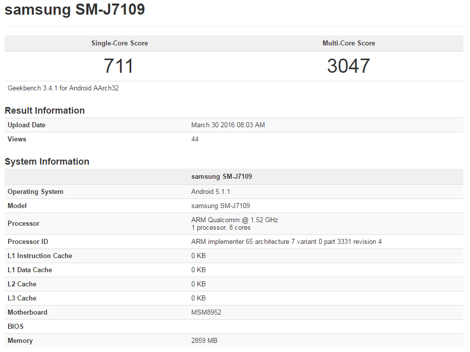 Samsung Galaxy J7 (2016) Geekbench Qualcomm Snapdragon 617