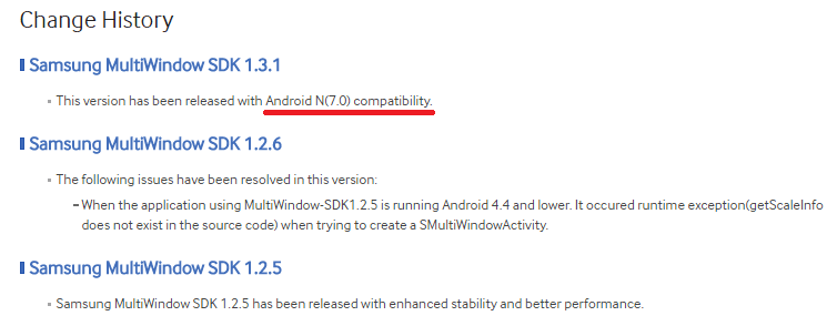 Samsung MultiWindow SDK 1.3.1 Android N Android 7.0