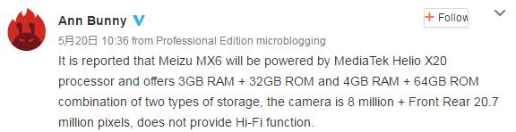 Tabletowo.pl Meizu MX6 dostępny będzie w dwóch wariantach Android Meizu Plotki / Przecieki Smartfony