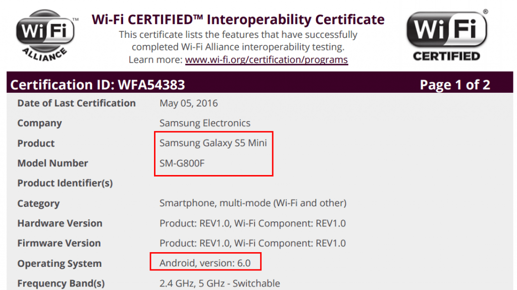 Samsung Galaxy S5 Mini Android 6.0 Marshmallow