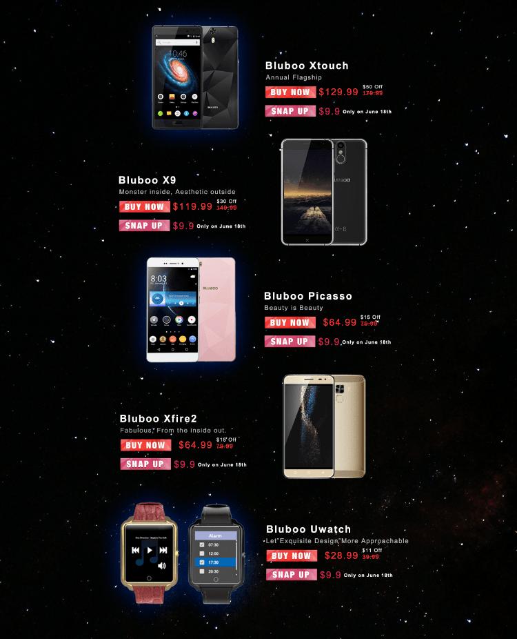 Tabletowo.pl 18 czerwca, przy odrobinie szczęścia, kupisz wszystkie smartfony Bluboo za 9,99 dolarów Android Chińskie Promocje Smartfony