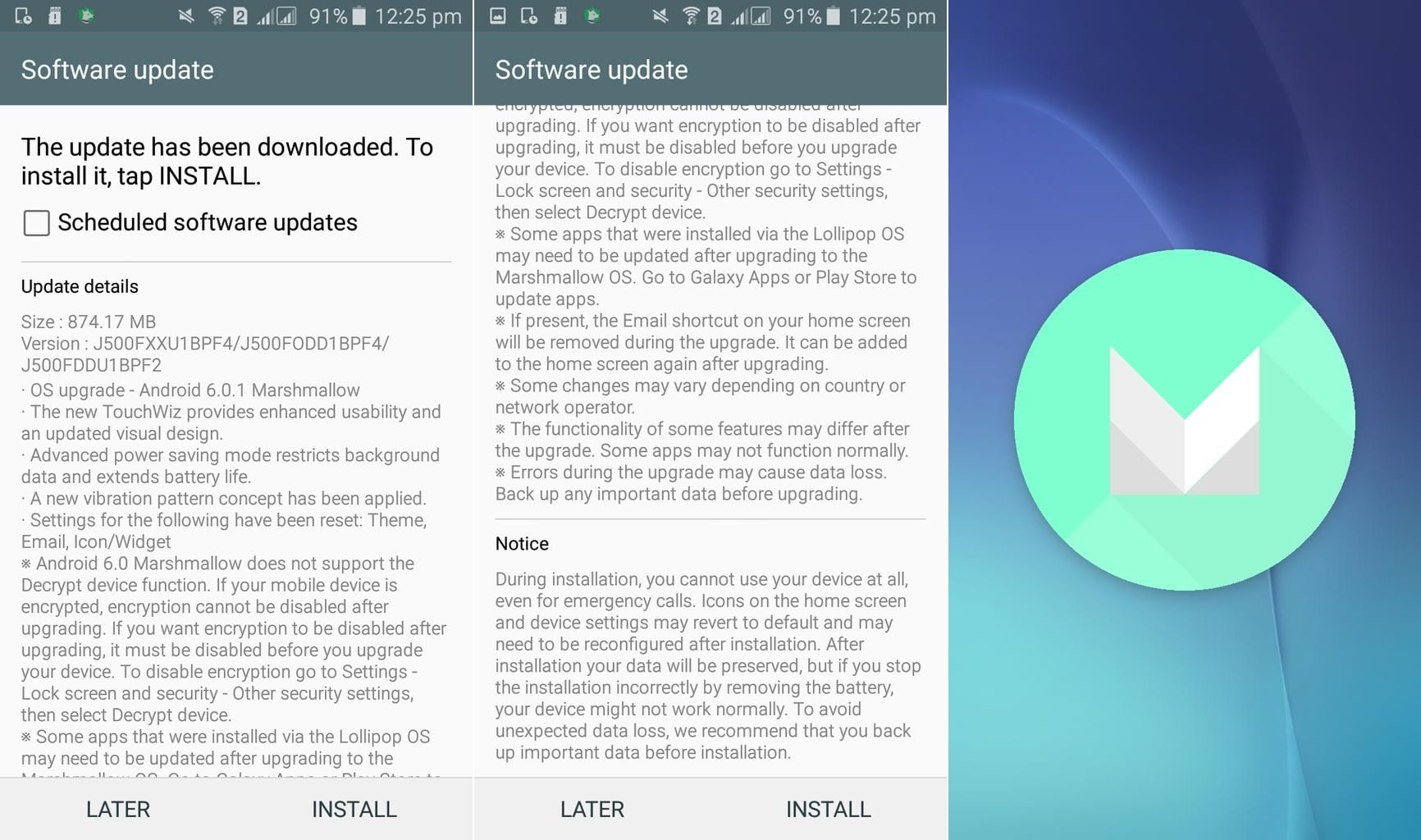 Samsung Galaxy J5 Android 6.0 Marshmallow changelog