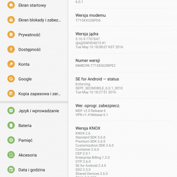 Samsung Galaxy Tab S2 8.0 SM-T715 Android 6.0.1 Marshmallow