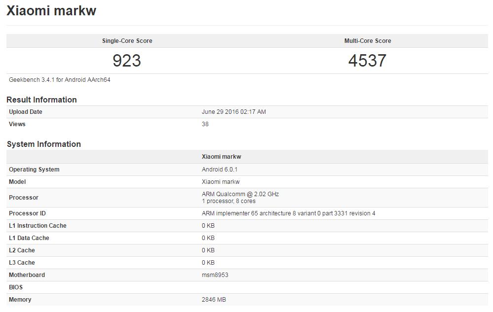 Xiaomi markw Geekbench