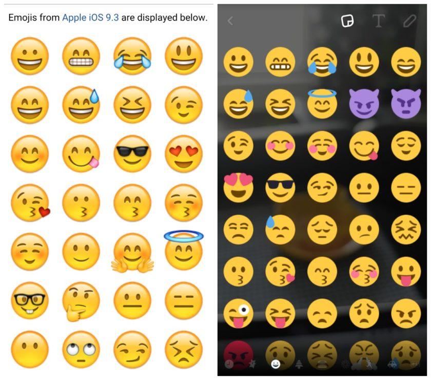 iOS emoji versus vs Android emoji
