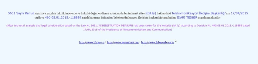 bit.ly zbanowane przez turecki urząd cenzury w mediach