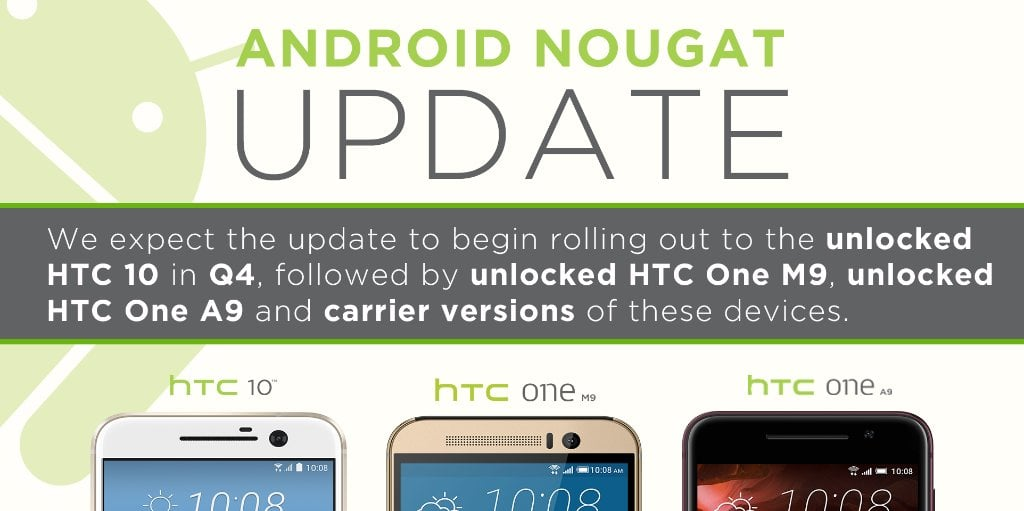 Android 7.0 Nougat HTC 10 HTC One A9 HTC One M9