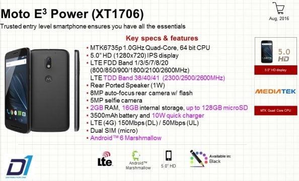 Tabletowo.pl Moto E3 Power zadebiutowała w Hong Kongu Android Lenovo Motorola Smartfony