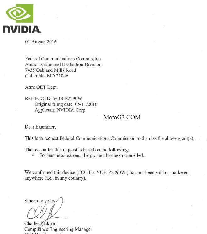 Oświadczenie przesłane przez NVIDIĘ do FCC