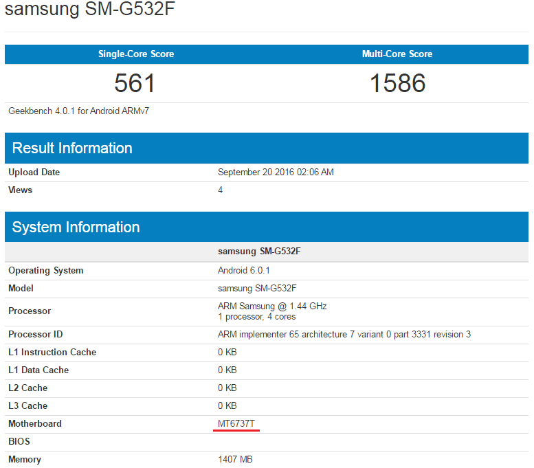 Samsung Galaxy Grand Prime (2016) w Geekbench