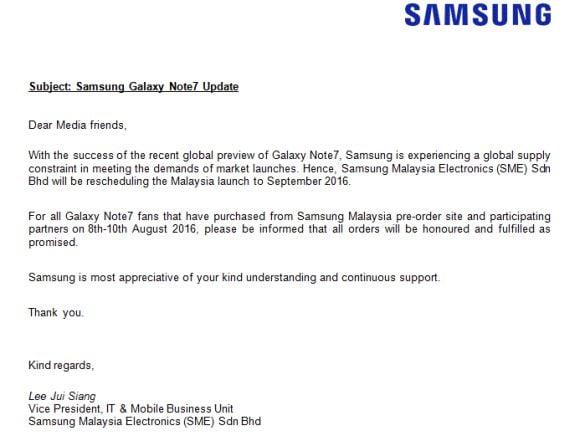 Oświadczenie malezyjskiego oddziału Samsunga ws. Galaxy Note 7