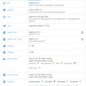 Sony Xperia F8331 (Sony Xperia XR) w GFXBench