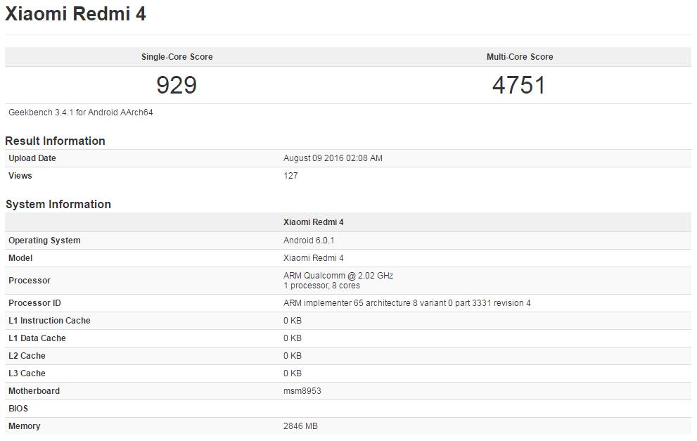 Xiaomi Redmi 4 w Geekbench