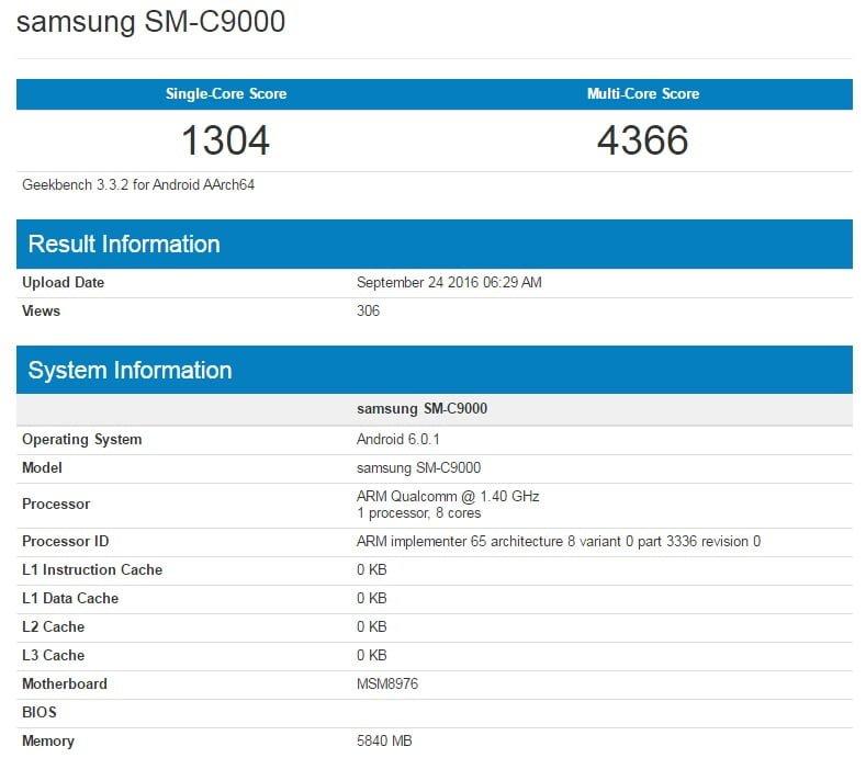 Samsung Galaxy C9 w Geekbench