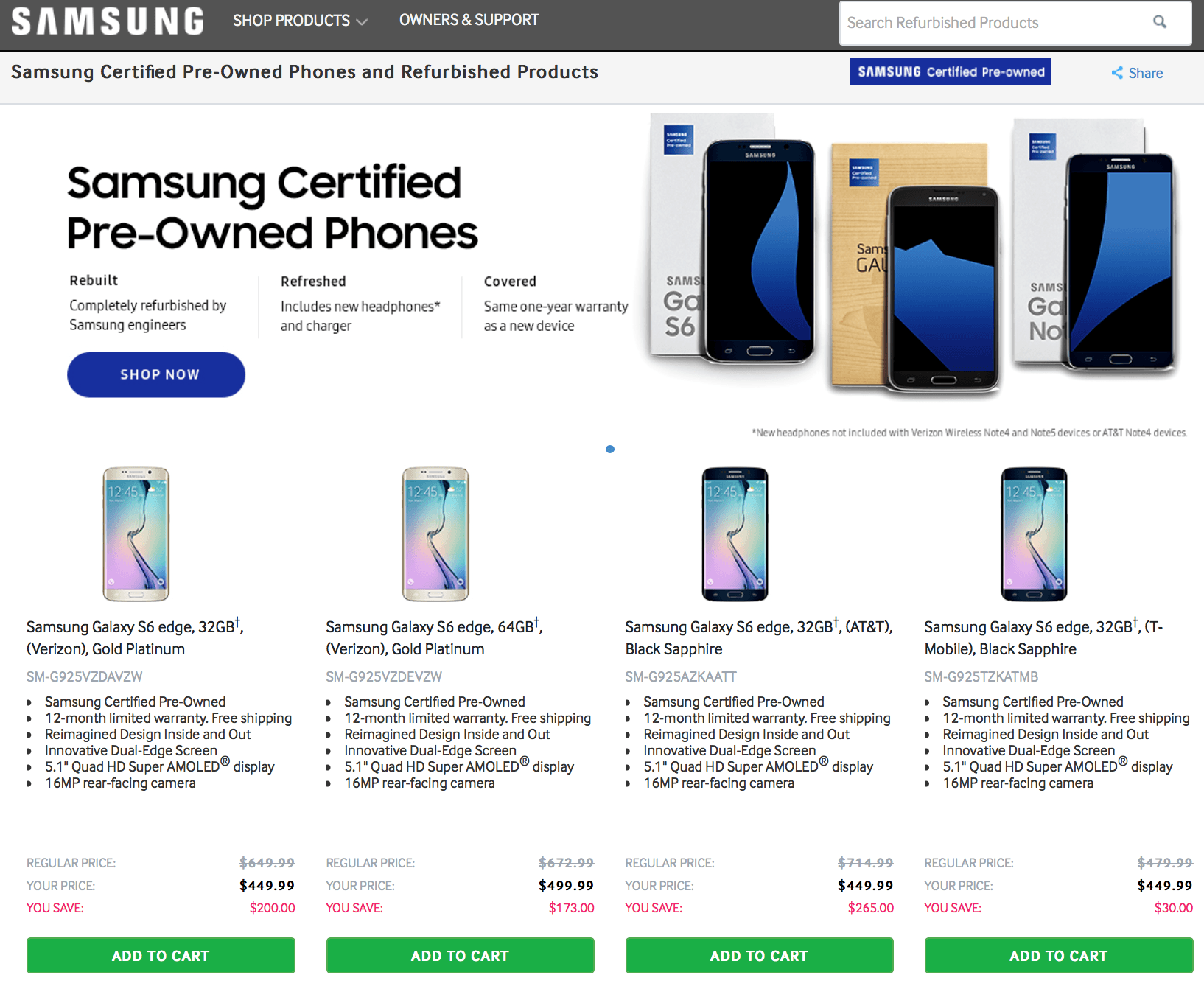 Samsung odnowione ex-flagowce Stany Zjednoczone USA