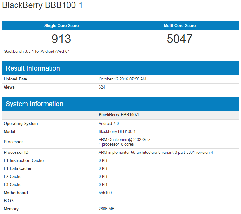BlackBerry Mercury w Geekbench