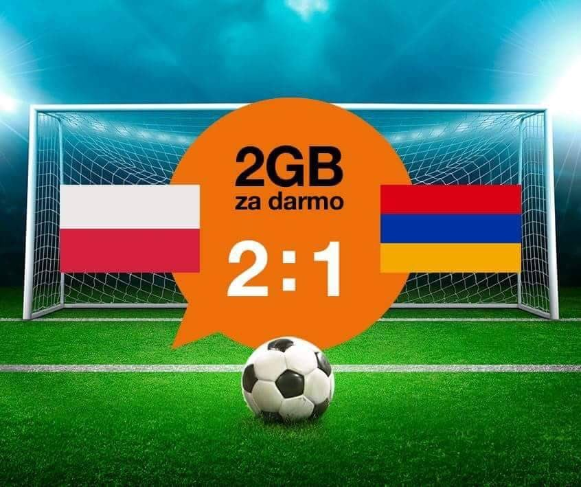 Za wygrany mecz z Armenią Orange daje 2GB internetu 19