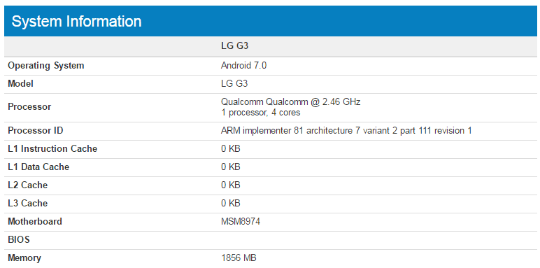 LG G3 z Androidem 7.0 Nougat w Geekbench
