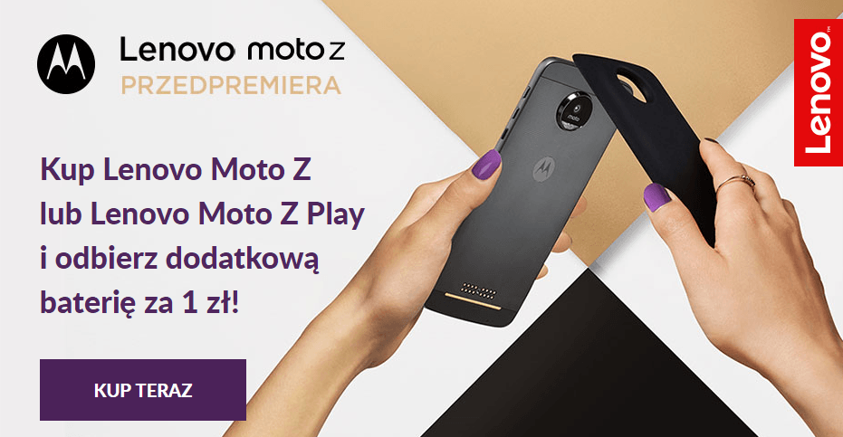 Tabletowo.pl Ruszyła przedsprzedaż Lenovo Moto Z i Moto Z Play. Można zgarnąć Powerpack o wartości 299 złotych za złotówkę Android Lenovo Motorola Smartfony