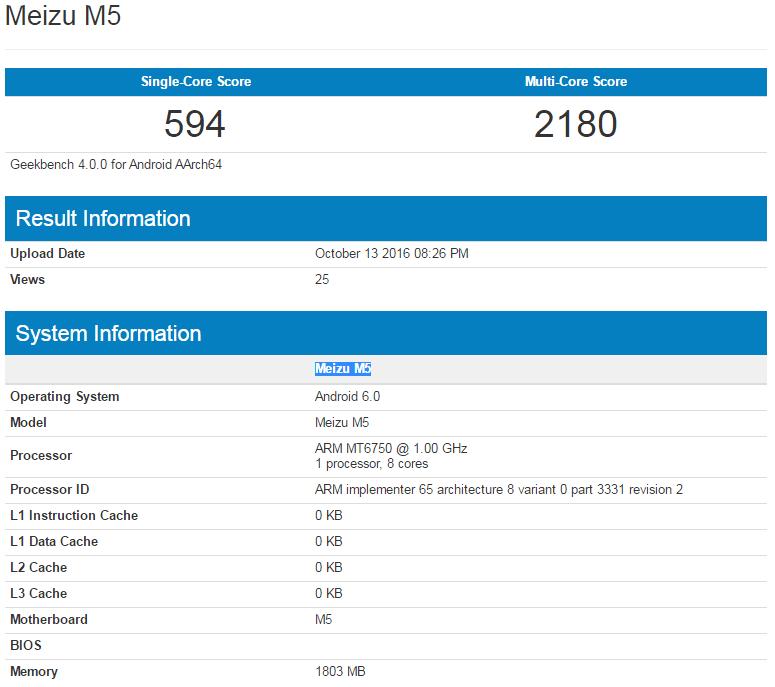 Meizu M5 w Geekbench
