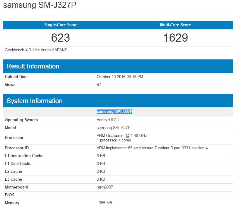 Samsung Galaxy J3 (2017) w Geekbench