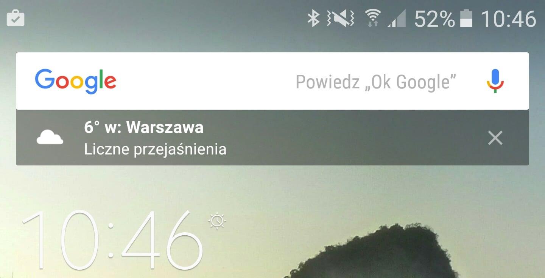 Widżet Google Search połączony z Google Now