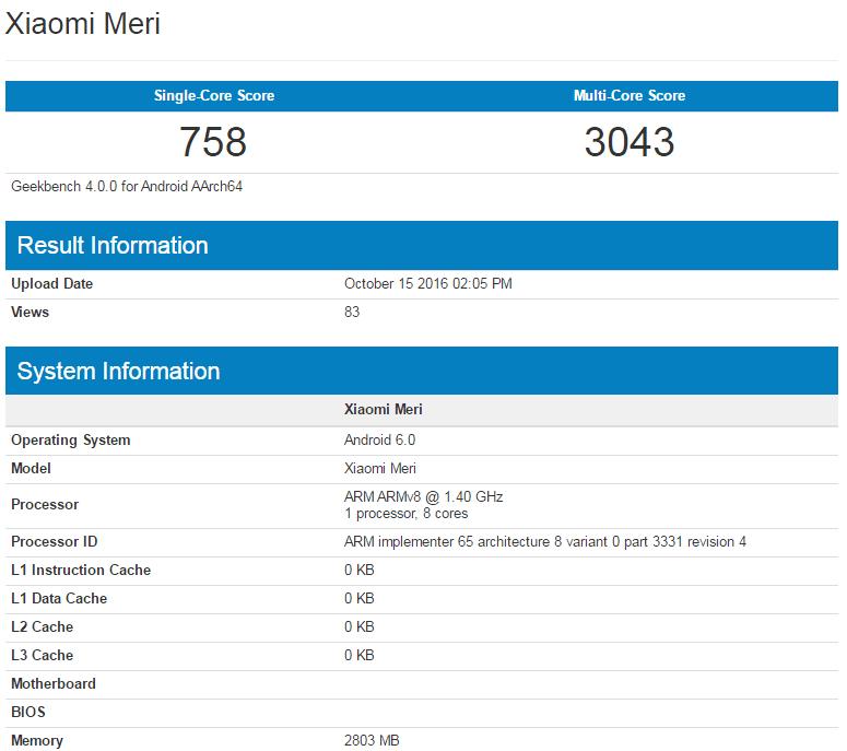 Xiaomi Meri w Geekbench
