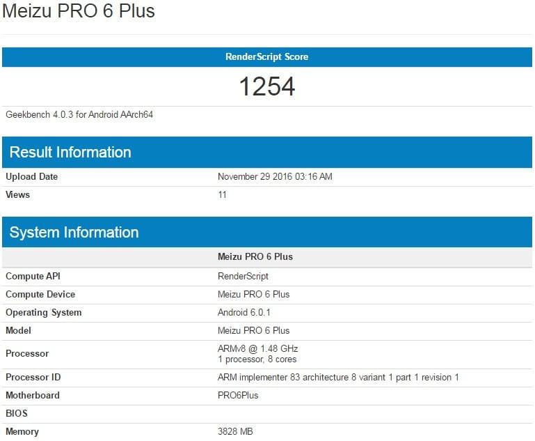Meizu Pro 6 Plus w Geekbench