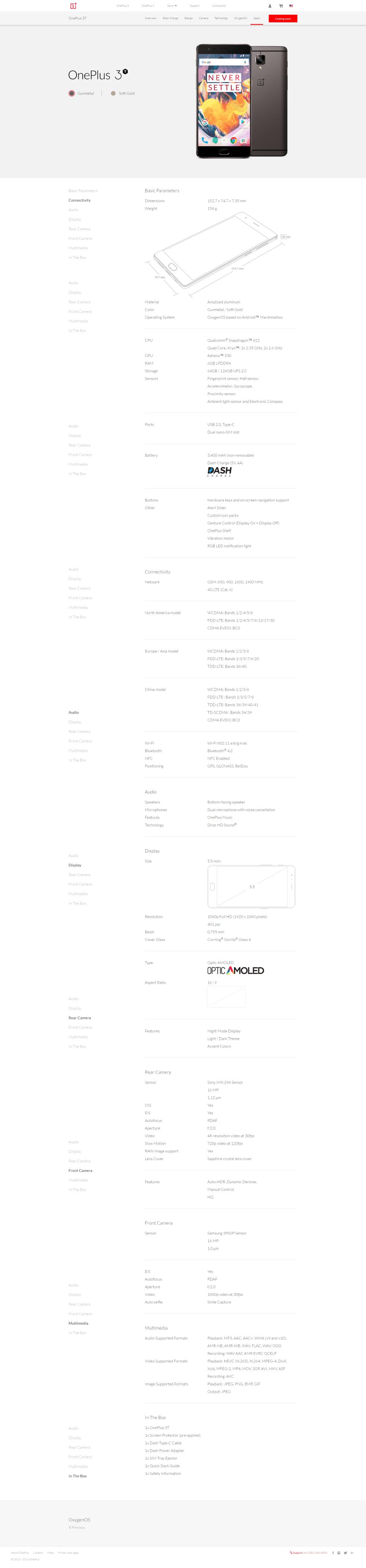 Specyfikacja OnePlus 3T