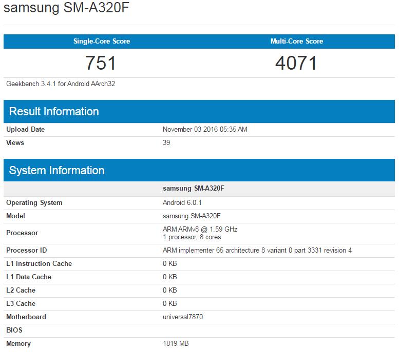 Samsung Galaxy A3 (2017) w Geekbench