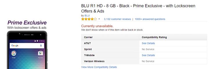 Blu R1 HD w Amazonie już nie kupimy