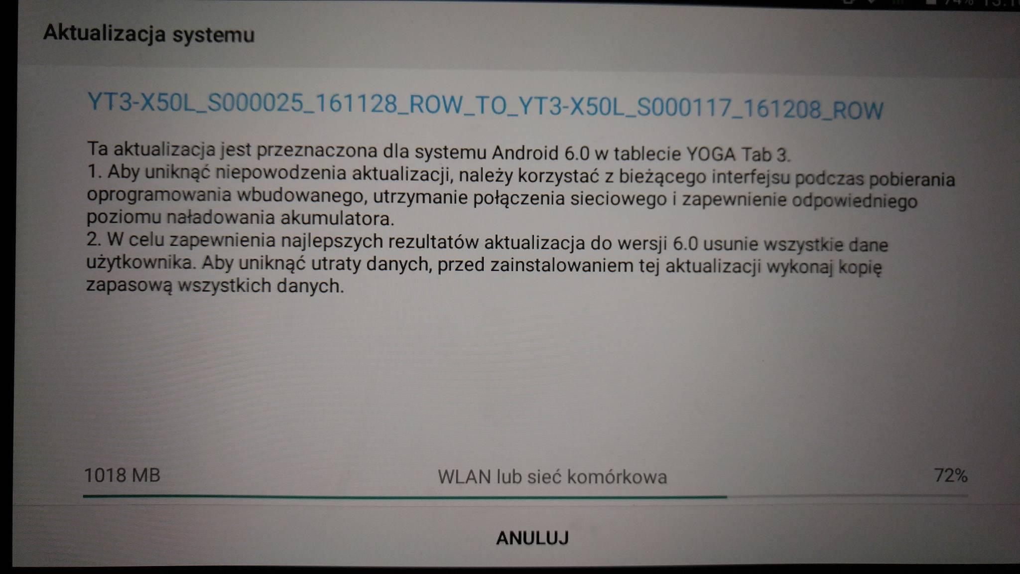 Tabletowo.pl Lenovo Yoga Tab 3 (X50L) 2GB z Orange dostaje Androida 6.0.1 Marshmallow Aktualizacje