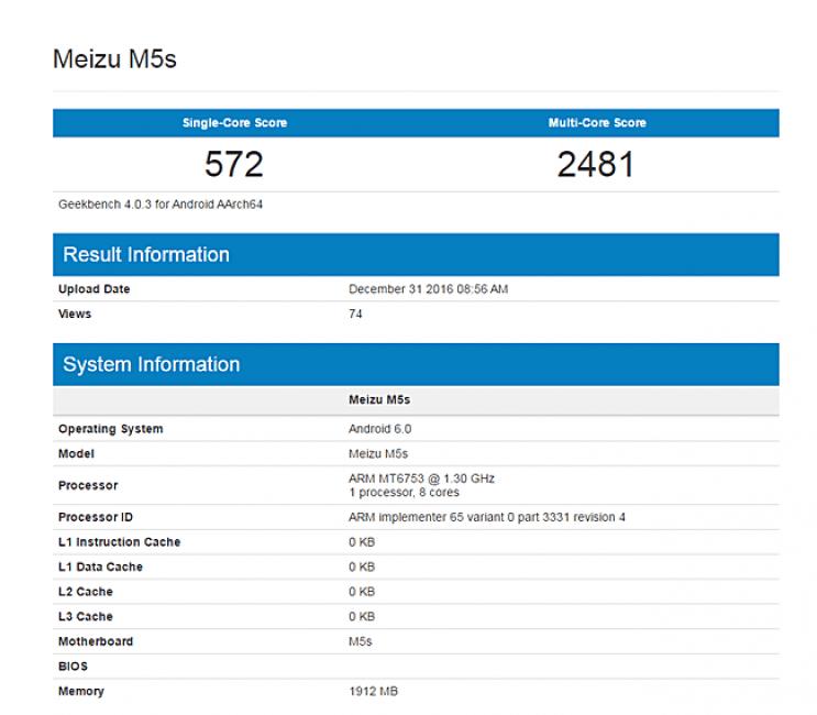 Meizu M5S przyłapany w bazie Geekbench 18
