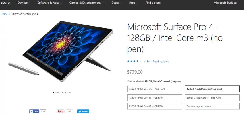 Tabletowo.pl Lepiej kupić Surface Pro 4 bez Surface Pena, a potem dokupić rysik osobno. W międzynarodowym sklepie Microsoftu tak wychodzi taniej Ciekawostki Hybrydy Microsoft Windows
