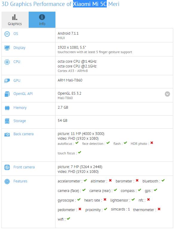 Tabletowo.pl Xiaomi Mi 5C z procesorem Pinecone V670 przeszedł test w GFXBench Android Smartfony Xiaomi